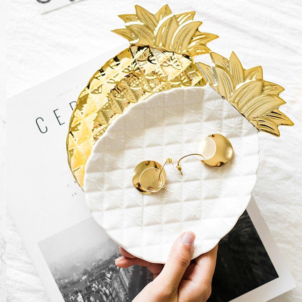 Chapado en oro plato de postre de joyería de Cerámica Arte de la placa, regalo de Decoración de casa de caramelo pastel bandeja de almacenamiento anillos de joyería plato