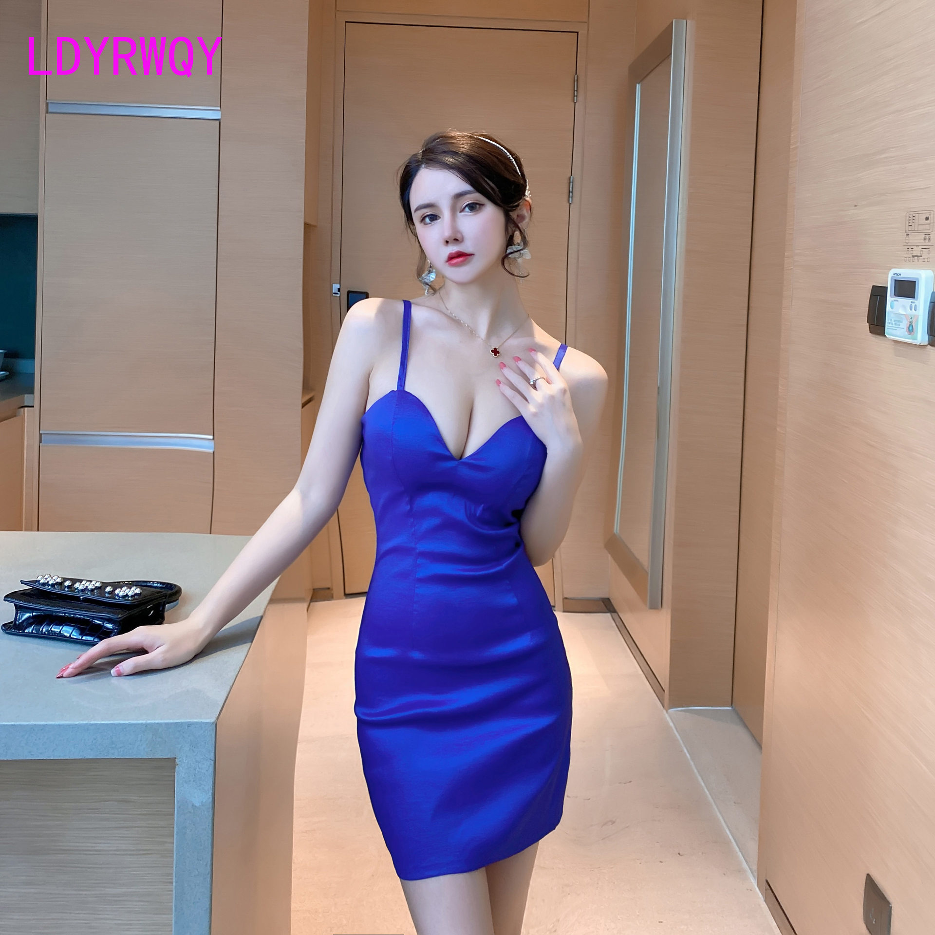 2021 nightclub sexy dress low-cut suspender tooling Office Lady  Knee-Length  Sheath night show low chest show thin sexy massage technician work dress sheath office lady