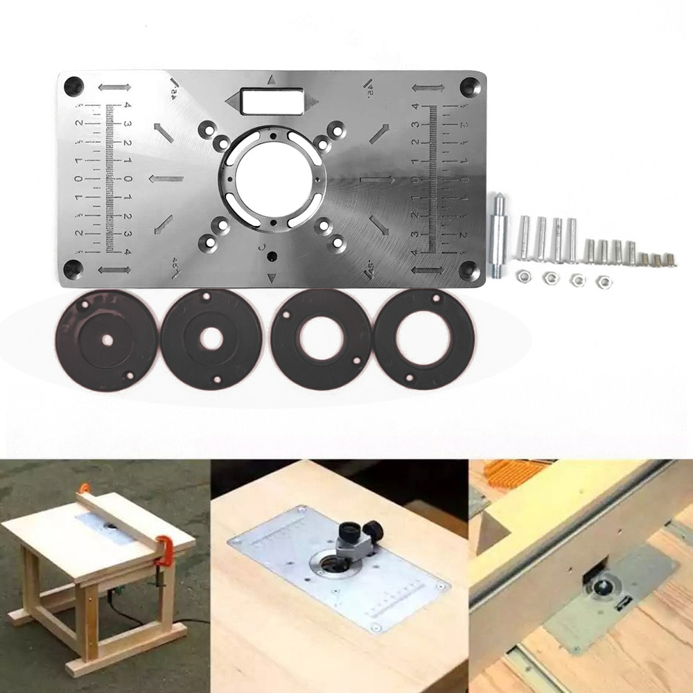 Router Table Insert Plate Woodworking Benches Wood Router Trimmer Models Engraving Machine Engraving 4 Rings Tool