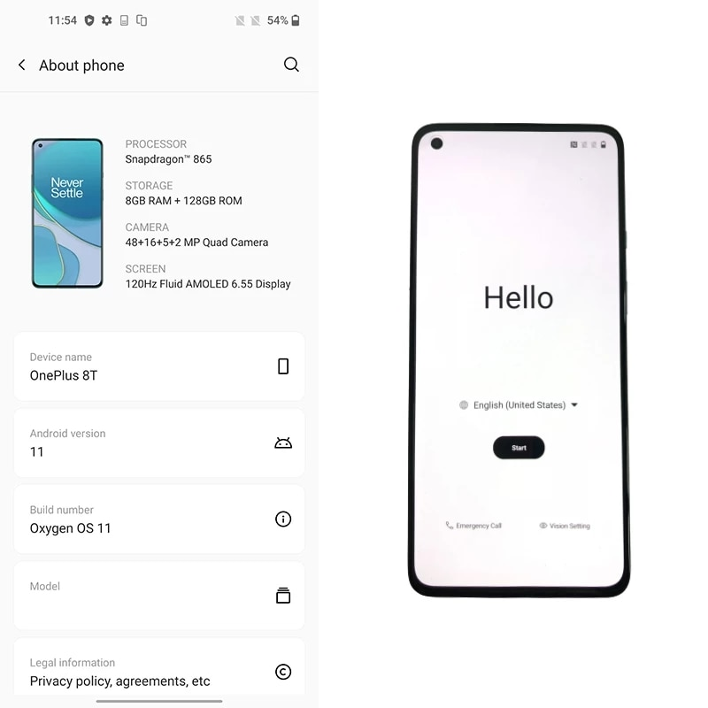 Global Rom OnePlus 8T Snarpdragon 865 5G Smart Phone 6.55 Inch 120 Hz Fluid AMOLED Display  4500mAh Battery Warp Charge 65 enlarge
