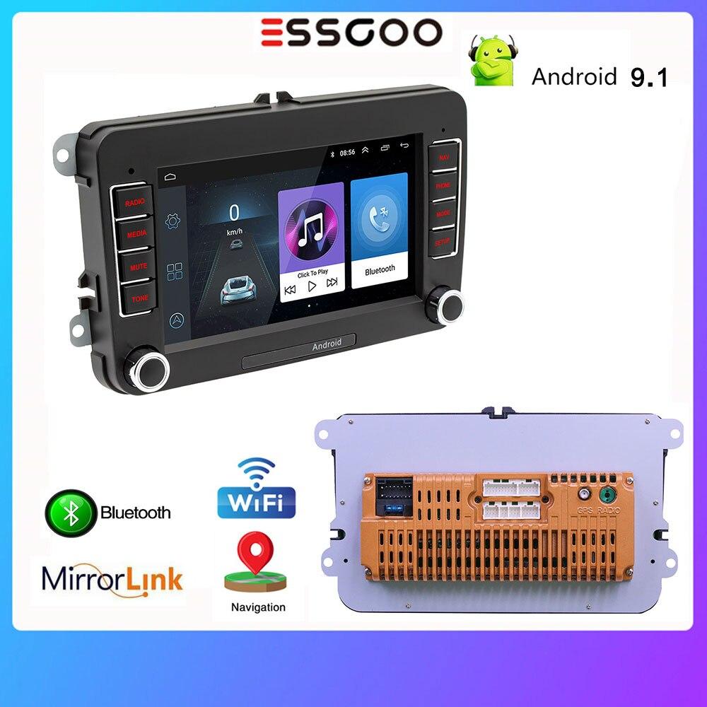 Radio de coche Essgoo 2 Din 7 Android 9,1 reproductor de vídeo Multimedia para coche Volkswagen Universal autorradio Bluetooth navegación GPS
