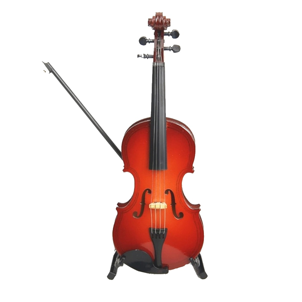 Colección de violín modelo exquisitos adornos de madera con caja de regalo guitarra miniatura 8cm Mini instrumento hecho a mano de escritorio decorativo