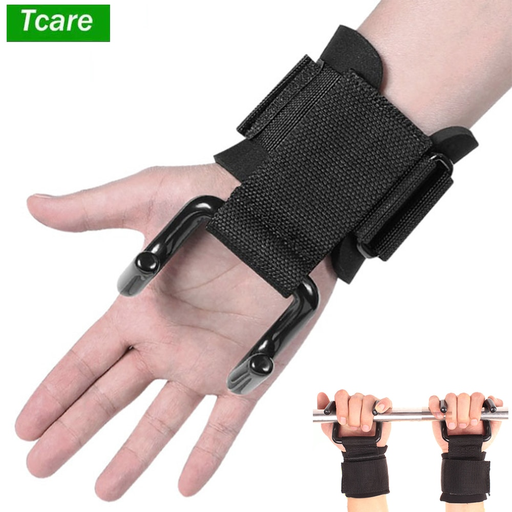 Tcare 2Pcs Adjustable Steel Hook Grips Straps Weight Lifting Strength Training Gym Fitness Wrist Sup
