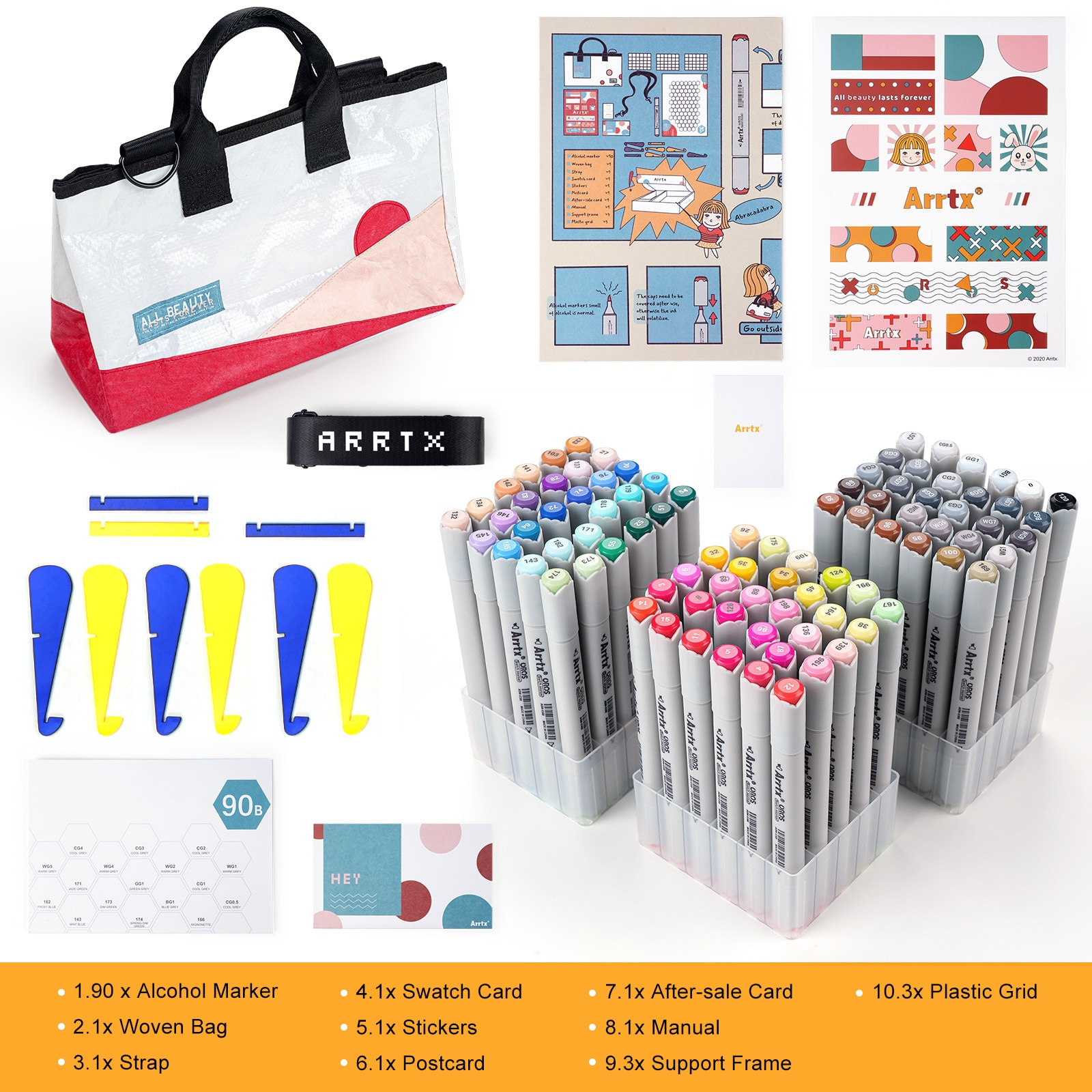 90 Colors Alcohol Brush Markers Arrtx OROS Brush & Chisel Tips Art Markers with Portable Woven Bag For Beginners And Artist enlarge
