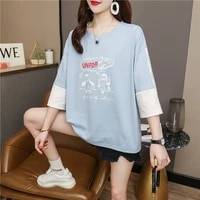 2021 trendy summer plus size womens clothing 100kg plump girls fat sister slimming top t shirt with short sleeves