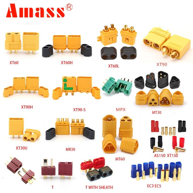 AMASS 10pcs XT60  XT90 XT60H XT60L XT60U  XT30U XT30PB XT90S T  EC3 EC5 AS150 XT150 MT30 MT60 MR30 MPX Plug For Lipo Battery