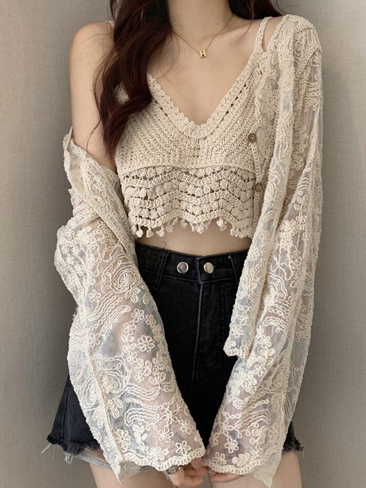 Suspender Vest Flower V-neck Small Women's Inner Layer Spring and Autumn 2021 New Bottom Short Style