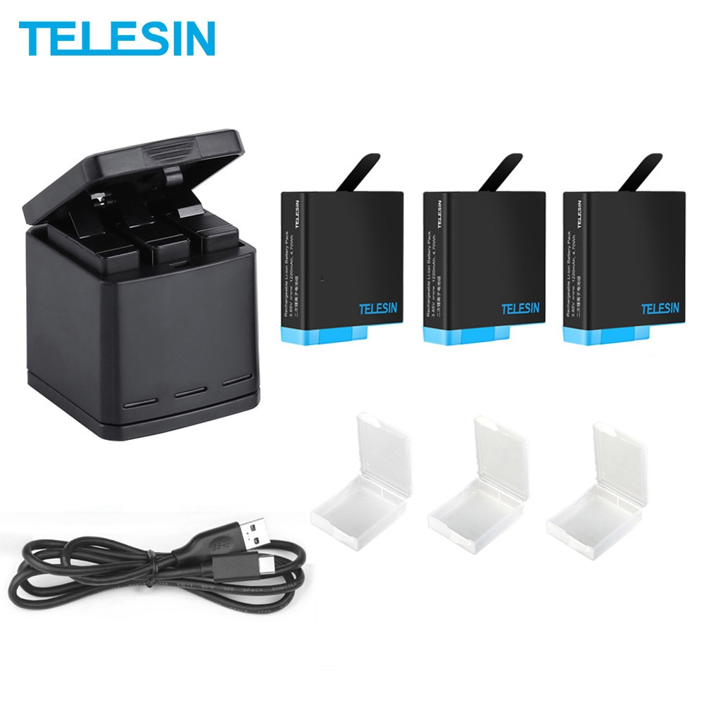 TELESIN 3 Pack Battery For Hero 8 Black 3 Slots Battery Charger LED Storage Box for GoPro Hero 8 7 6 5 Black Camera Accessories telesin 3 way led battery charger 3 battery pack charging box type c cable for gopro hero 8 7 6 hero 5 black accessories set