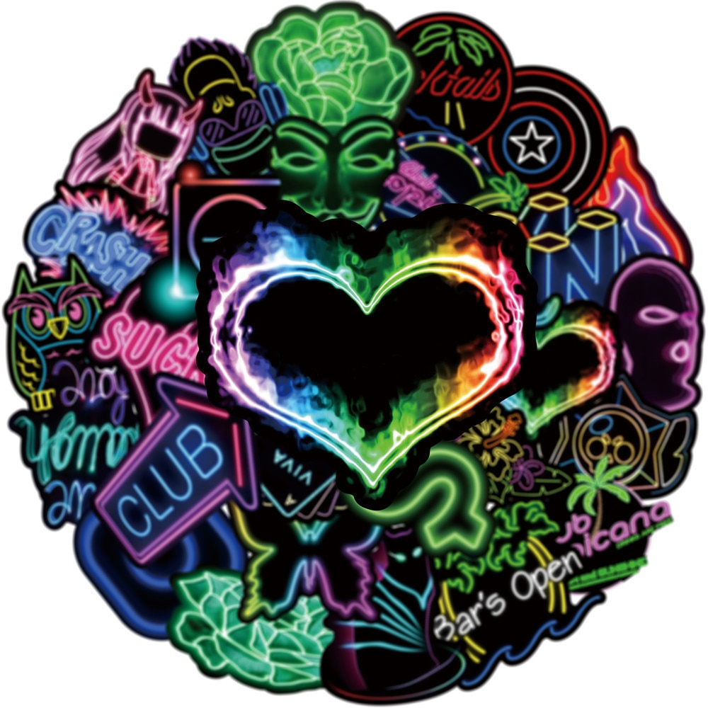 aliexpress.com - 50/100PCS Neon Styles Stickers for Laptop Water Bottles Cases Motorcycle Bike Kids Teens Gift Funny Cool Vinyl Sticker Decals