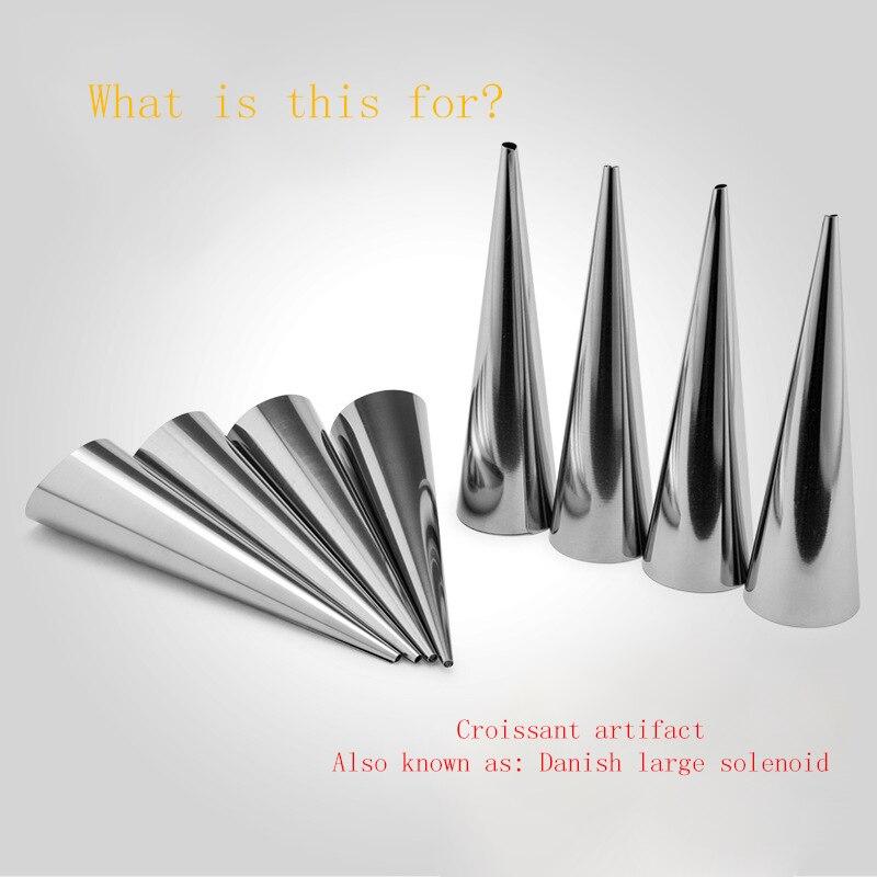 Moldes de cruasán en espiral de acero inoxidable, moldes de cono de tubo cónico, moldes de crema de cuerno, herramienta de pastelería para hornear