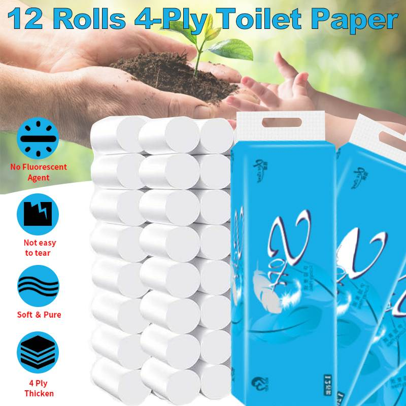 12 rolos 4 camadas papel higiênico rolo de papel não-cheiro de madeira polpa papel casa de banho cozinha tecido limpeza de papel conforto natural