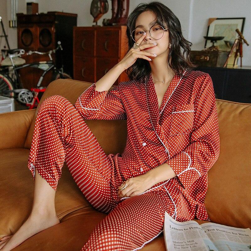 Conjunto de pijamas de lunares rojos para mujer abrigo de manga larga de alta calidad + Pantalones ropa de casa de dos piezas otoño femenino pijamas ropa de dormir
