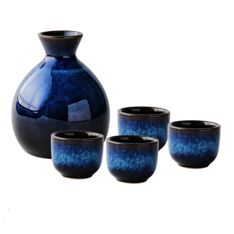 2 مجموعات 1 النبيذ وعاء 2(4) الكؤوس بار مجموعة القط العين الأزرق إبريق 35 مللي السيراميك الخمور كوب الأسرة الطعام قاعة 360 مللي النبيذ زجاجة