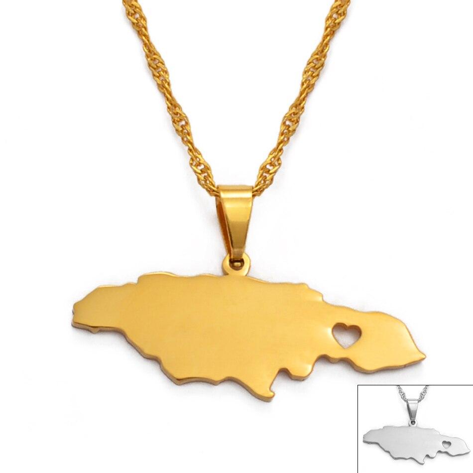 Anniyo serce jamajka mapa wisiorek naszyjniki dla kobiet/dziewczyna złoty kolor biżuteria jamajski patriotyczne prezenty #024621
