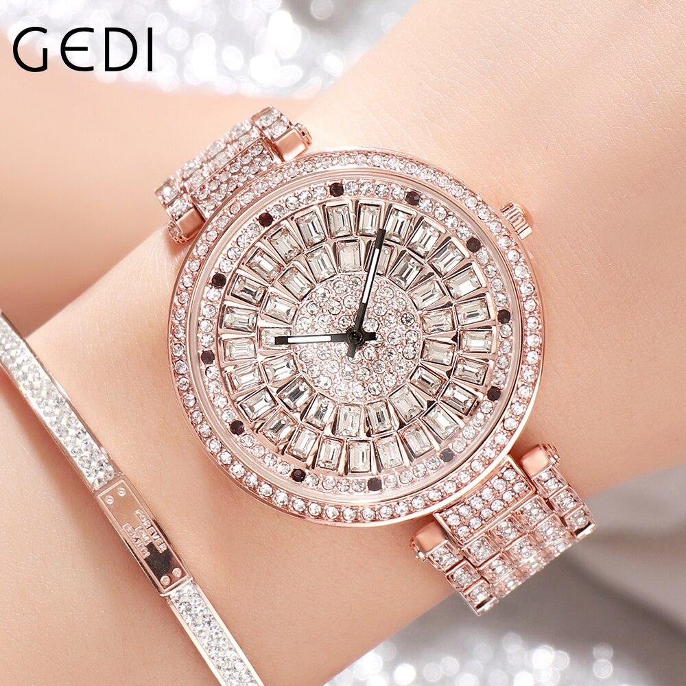 GEDI Rose Gold Women Watches 2021 Luxury Bling Diamond Ladies Watch Elegant Casual Women Quartz Wris