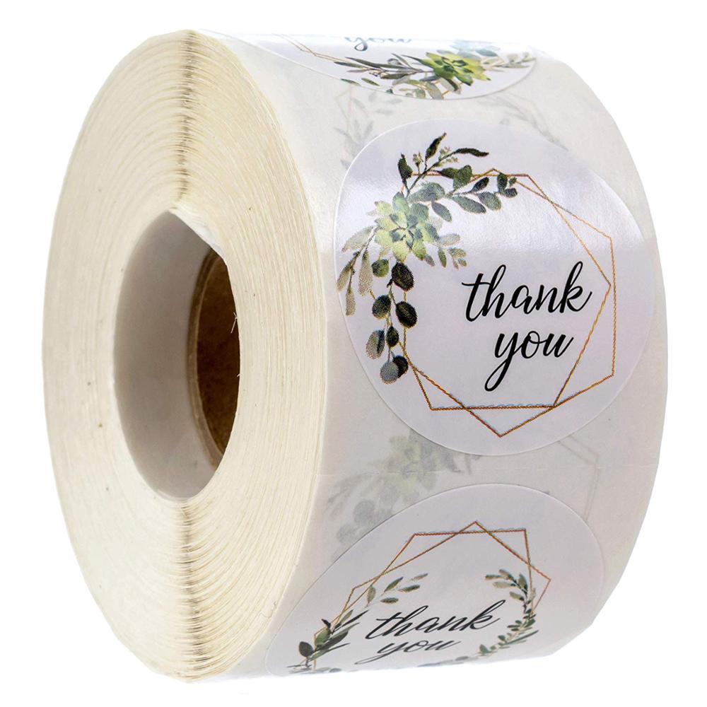 4 diseños de Marcos verdes gracias sello de pegatinas etiquetas para la decoración del paquete fiesta boda etiquetas escuela adhesivo de papelería