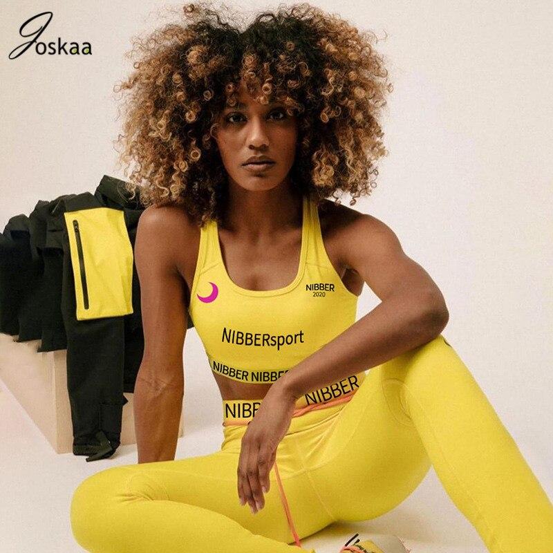 Joskaa Letter Print Two Piece Set Activewear Sports Sets 2 Piece Set Women Tank Top And Long Pants Outfits Tracksuit Sportwear