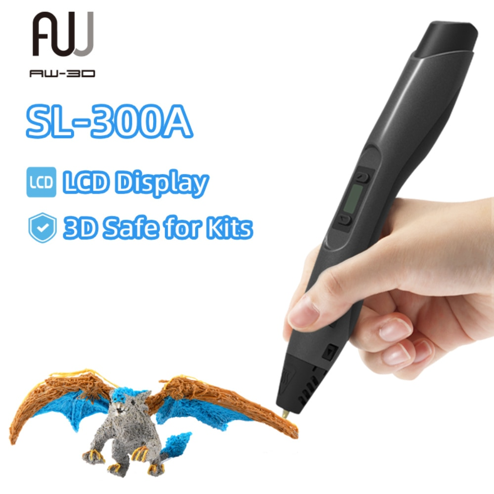 قلم طباعة ثلاثية الأبعاد يدعم درجة حرارة منخفضة وعالية مع شاشة الكريستال السائل وآمنة ثلاثية الأبعاد للأطقم والكبار مع طباعة خيوط 2 لفات