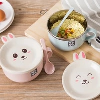 and tableware lid bowl steel noodles anti scalding noodle with instant spoon stainless bunny double layer bowl ramen random cute