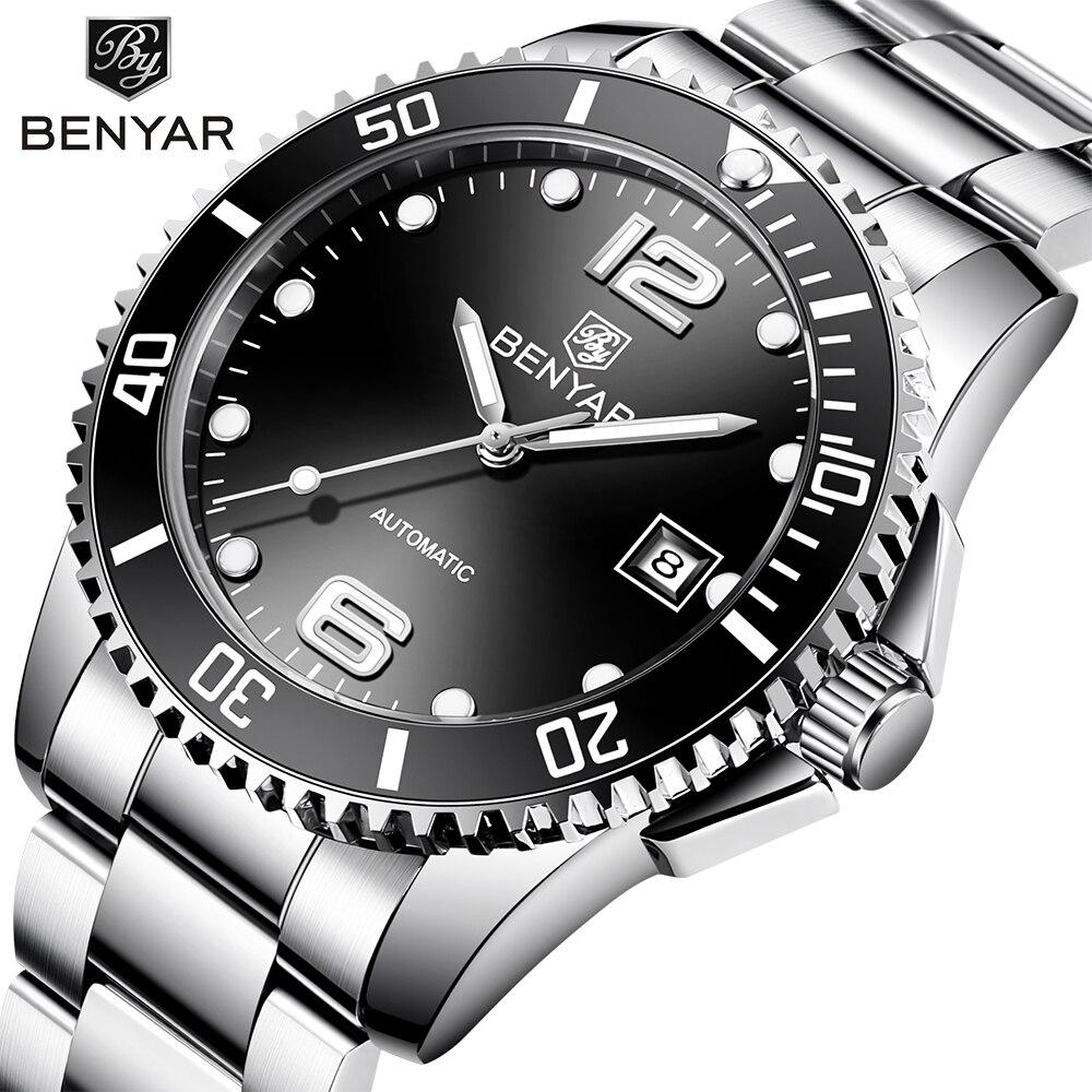 Benyar design marca de luxo relógios masculinos relógio preto automático aço inoxidável à prova dwaterproof água negócios esporte mecânico relógio pulso