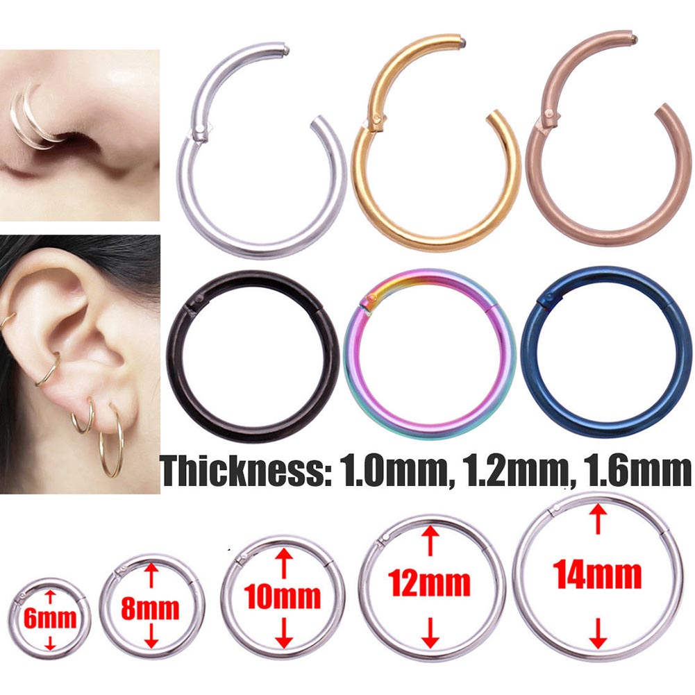 New Arrival 0.8mm Surgical Steel Small Nose Rings Mixed Color Body Clips Hoop For Women Men Cartilag