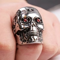 new exaggerated skull ring mens ring bohemian red crystal inlaid metal silver plated ring accessories party jewelry