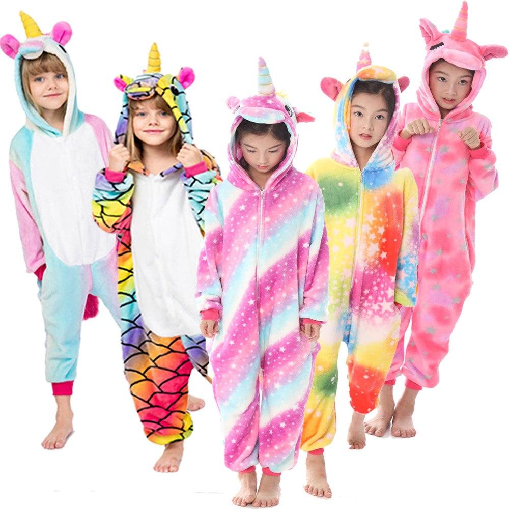 Flannel Warm Pajamas Children Sleepwear Baby Nightwear Boys Rainbow Unicorn Pijamas Infantil Sleepwear