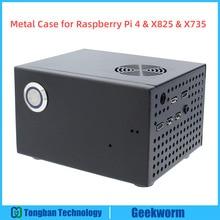 Raspberry Pi X825 SSD&HDD SATA Board Matching Metal Case+Switch+Cool Fan, Honeycomb chassis for X825 Raspberry Pi 4 Model B X735