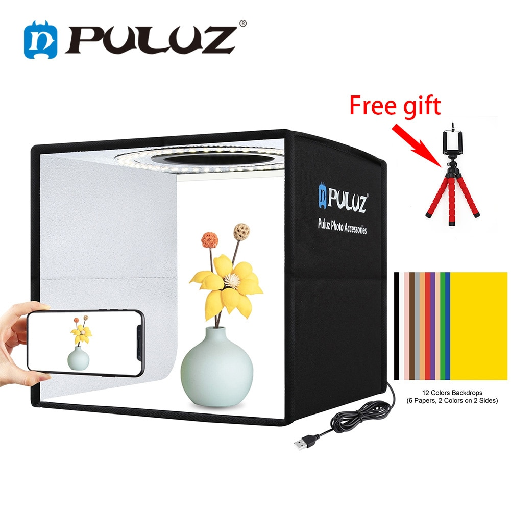 PULUZ-صندوق إضاءة استوديو الصور ، خلفية 12 لونًا ، طاولة صغيرة ، صندوق إضاءة للتصوير الفوتوغرافي ، صندوق تصوير ناعم ، خيمة ، حلقة إضاءة