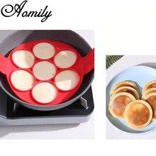 Amoliy 7 Holes Non-Stick Egg Pancake Silicone Mold DIY Pancake Maker Ring Round Shape Mold Kitchen Baking Omelet Moulds Kitchen