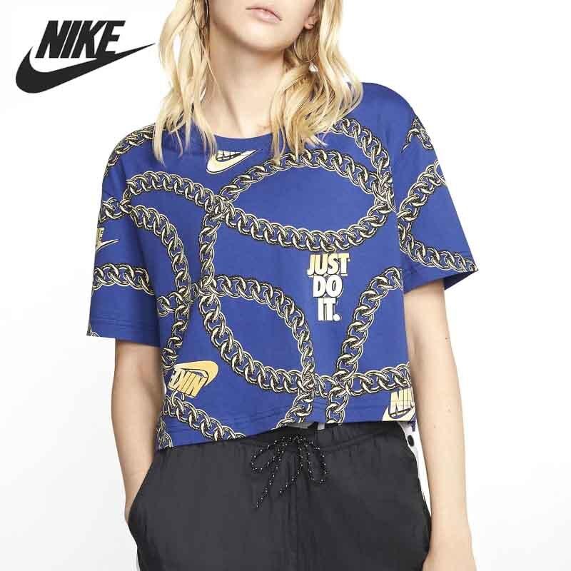 Nueva llegada Original NIKE como W camiseta NSW GLAM DUNK CROP mujeres camisetas de manga corta ropa deportiva