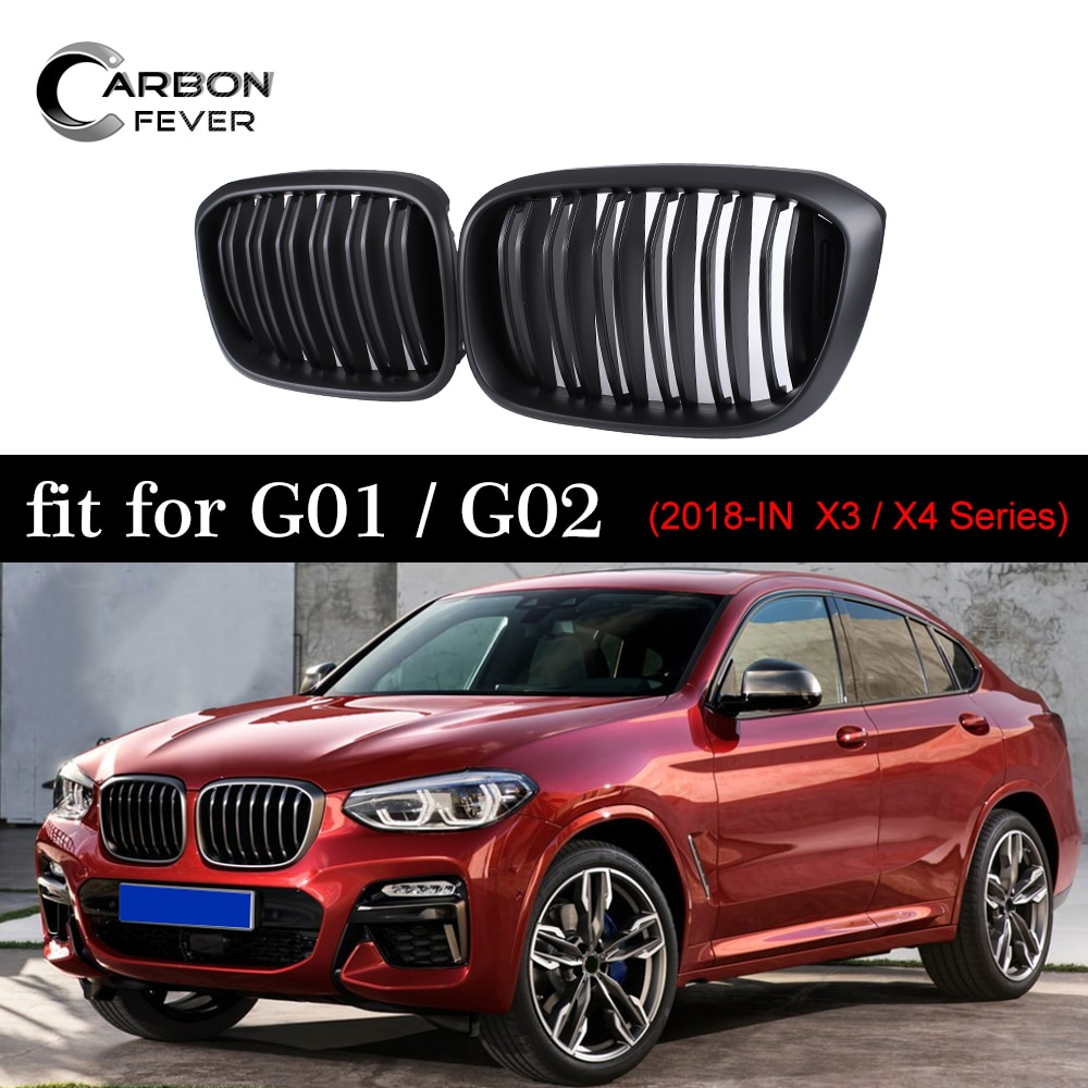 Solo listones dobles rejilla frontal para BMW X3 G01 X4 G02 ABS negro mate de parrillas 2018 +
