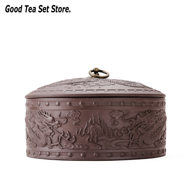 Caja de almacenamiento de contenedores para té de arcilla púrpura, caja de almacenamiento de té, frasco para dulces, contenedor de pintura de tallado A Mano, té de Puer en la nube auspicioso