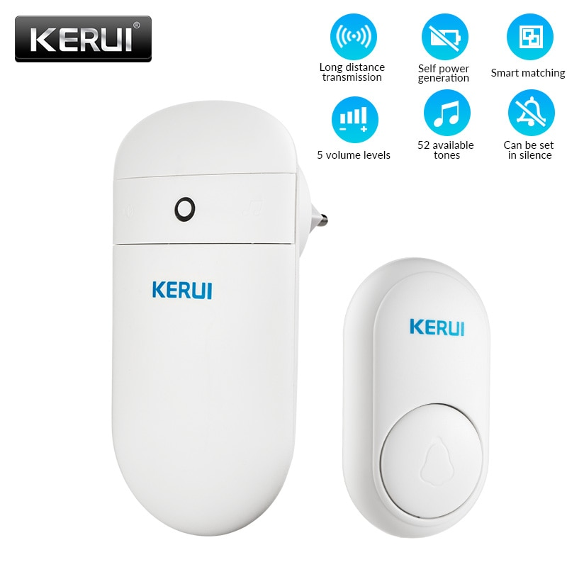 KERUI M518 Wireless Self Generation Button 52 songs Optional 5 Volume Levels No Need Battery Welcome