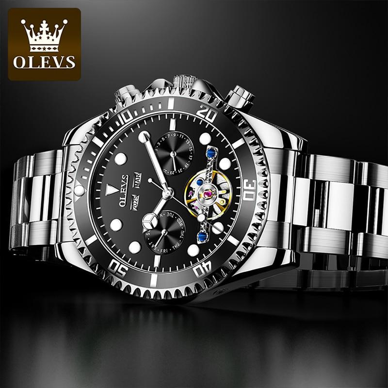 OLEVS 2021 New Men Luxury Automatic Mechanical Multifunctional Green Water Ghost Waterproof Luminous Week Display Watches 6605 enlarge