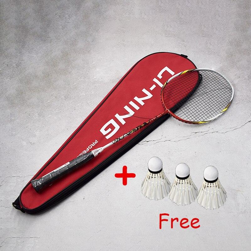 Li-Ning ракетки для бадминтона, одиночные ракетки из углеродного волокна, профессиональные ракетки, прочные одиночные спортивные ракетки