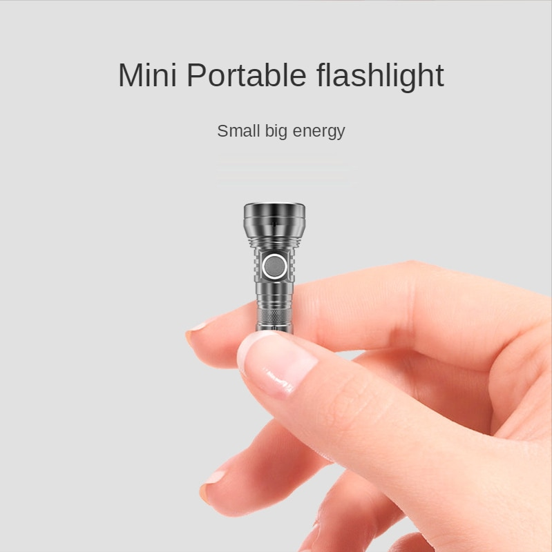 450 Lumen Mini Portable LED Flashlight Powerful 300m Black 10180 Battery Flashlight Rechargeable Lampe Camping Outdoor Torche enlarge