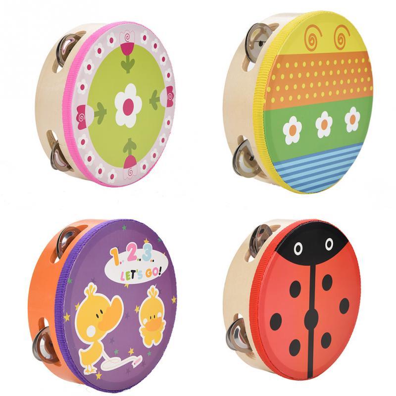 15cm Cartoon Wooden Handheld Tambourine Freestyle Hand Drum Bell Musical Tambourine Percussion Drum Instrument For Kid Games недорого