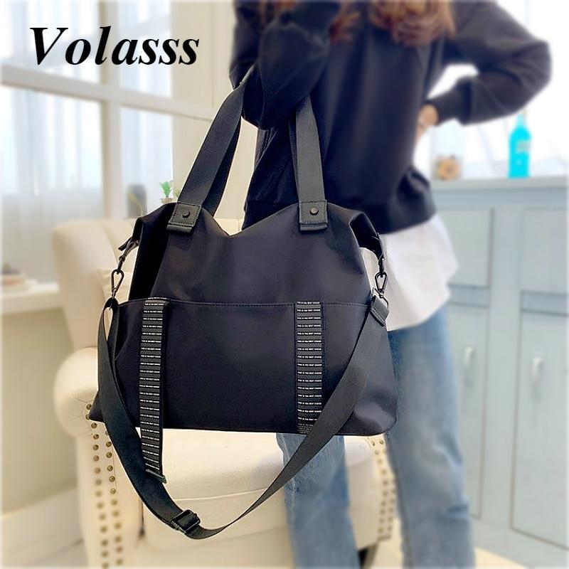 Volasss Модные женские большие дорожные сумки, черные Большие вместительные сумки для женщин, дорожные сумки на одно плечо, сумки-оксфорды для ...