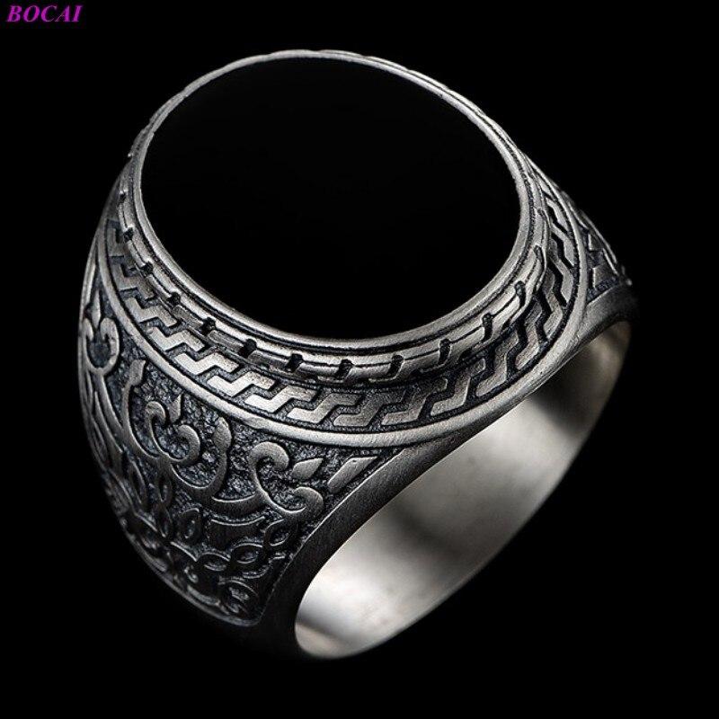 BOCAI Solide 925 خواتم الفضة النقية الطبيعية العقيق الأسود الدائري للرجال العصرية الرجعية شخصية الاستبداد التايلاندية الفضة خواتم