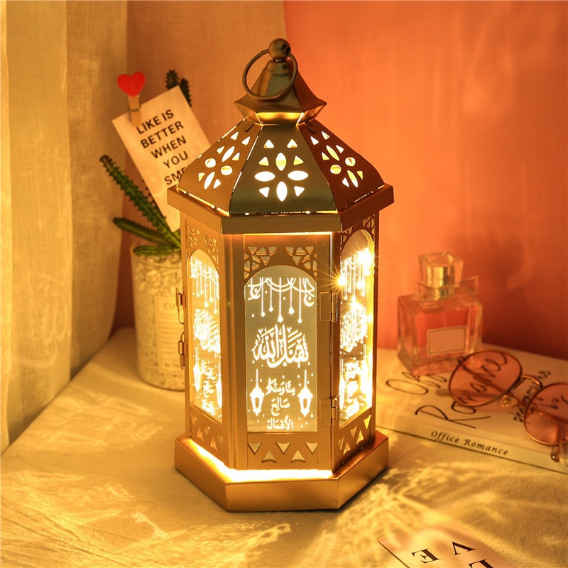 2020 Ramadan Lanterns Deco Eid Mubarak Deor Light Muslim Islam Wood Lantern Home Decoration Aid Mabrouk Deco Islamic Lantern