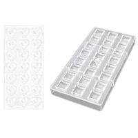 promotion 2pcs baking pastry tools polycarbonate chocolate mold confectionery tool chocolate candy mold 24 grid right angle s