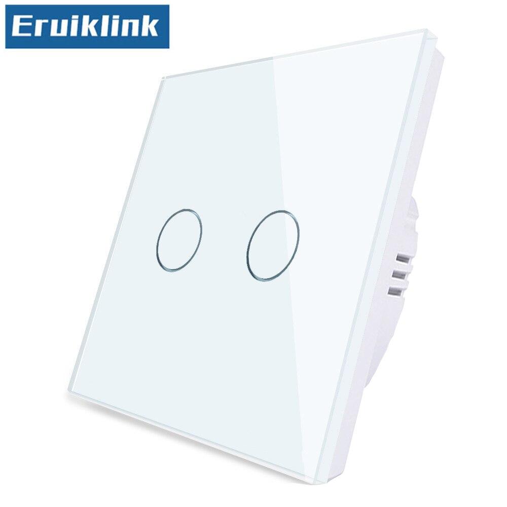 Interruptor de luz de pared estándar UE/UK, 1/2/3 Gang 1 Way Panel de cristal 220V Interruptor táctil no puede ser controlado a distancia