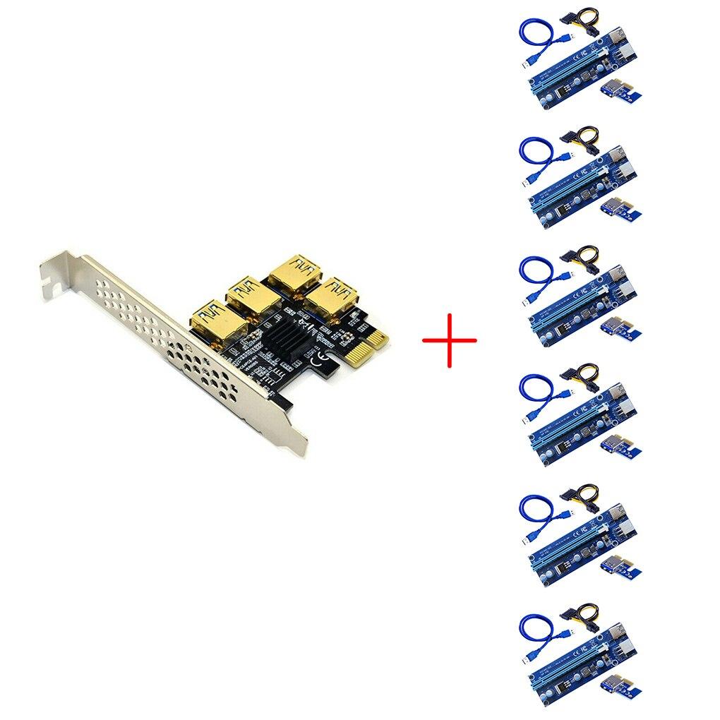 6 قطعة USB 3.0 PCI-E Express 1x إلى 16x محول بطاقة الناهض PCIE 1 إلى 4 فتحة بطاقة مضاعف منفذ PCIe