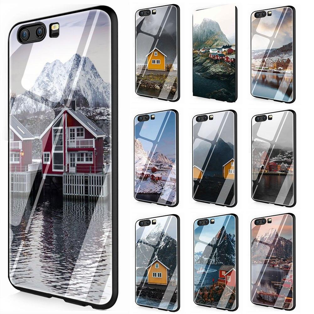 Norwegia dom obudowa ze szkła hartowanego skrzynka dla Huawei P10 P20 30 Mate 20 Honor 9 10 Lite Pro 7A 8X P Smart