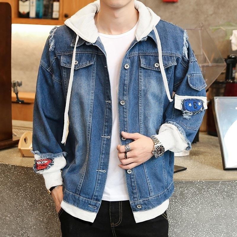 Men Denim Jacket Streetwear Hip Hop Hooded Jean Male Casual Loose Outerwear 2021 New Spring Fashion Slim Fit Coat Punk Winter