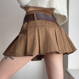 summer 2021 New Women Clothes Skirts Short A-Line High-Waist Tooling Hot Female Mini Pleated-Skirt Sweet Cute Girls Dance Skirt