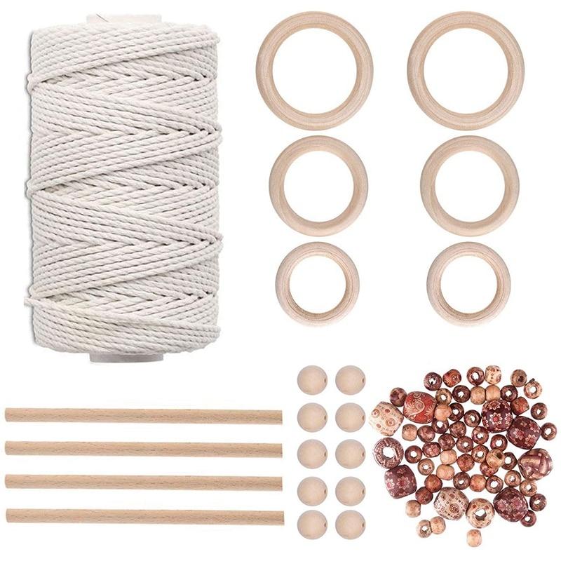 M cuerda de encaje Kit de colgar en la pared, 70 cuentas de madera 4 Uds palos de madera, para perchas de planta DIY, artesanías, tejer