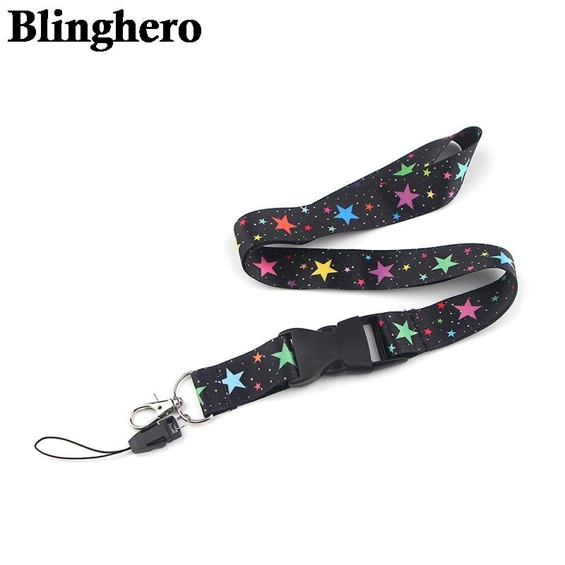CA1359 Colorful Star Key Lanyard ID Card Holders Stars Mobile Phone USB Badge Holder DIY Neck Straps