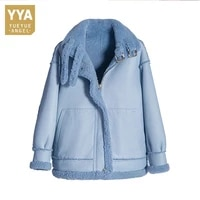 winter real fur shearling jacket women luxury natural lamb fur biker short coat elegant vintage zipper warm lady wool outerwear